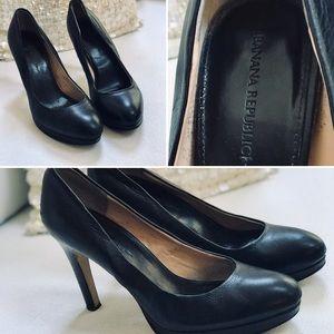 🍾🔥 BANANA REPUBLIC Leather Pumps Black Sz 10M 🍾